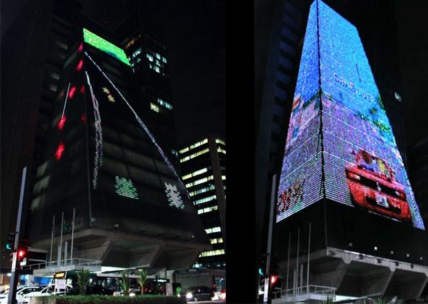 O clássico 'Enduro' (à esquerda) e 'OutRun' aparecem em imagens em prédio da Av. Paulista (Foto: Divulgação/SESI-SP)