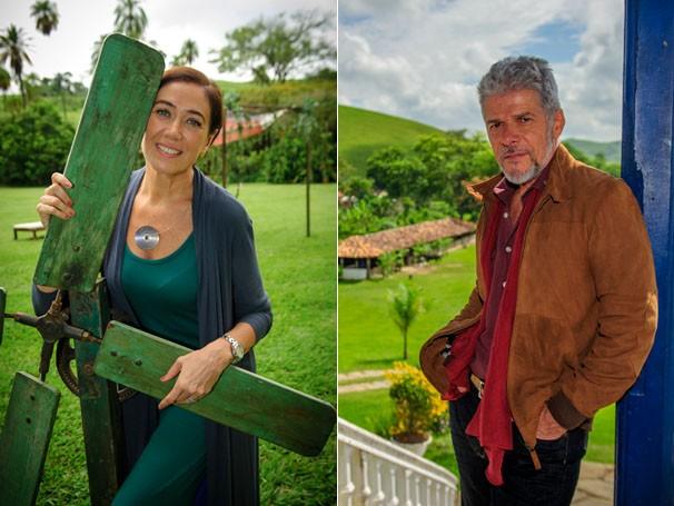 Lília Cabral posa ao lado de um moinho de vento, trazido da Índia para compor sua personagem; José Mayer grava com o figurino de Zico Rosado, em uma fazenda no Bananal, em São Paulo  (Foto: TV Globo/Alex Carvalho)
