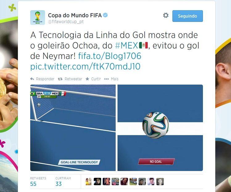 Fifa mostra que bola de Neymar não entrou