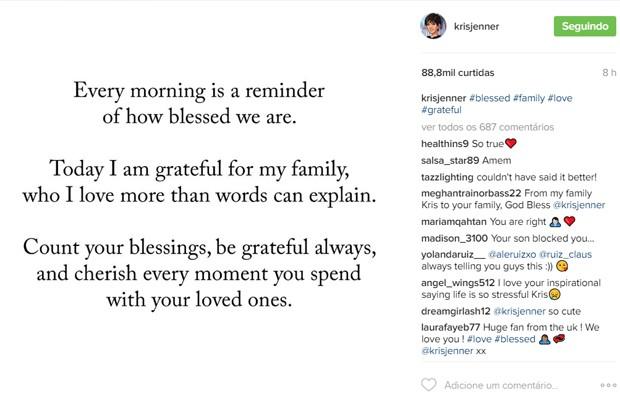 Kris Jenner posta mensagem após assalto de Kim Kardashian (Foto: Reprodução/Instagram)