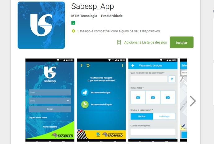 Aplicativo da Sabesp permite avisar sobre vazamentos