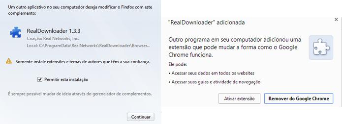 Ao abrir o navegador, será necessário habilitar a extensão do Real Player Downloader para Firefox e Chrome (Foto: Reprodução/Paulo Alves)