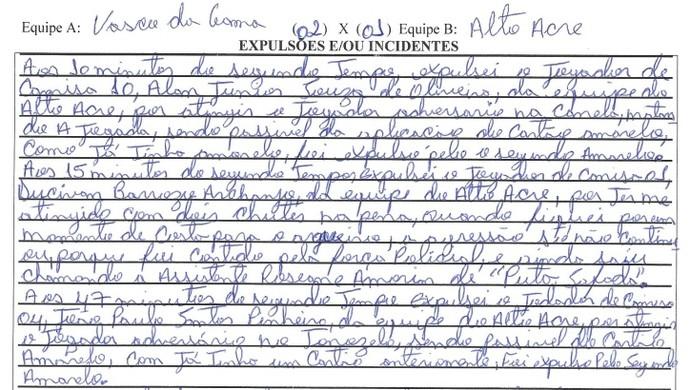 Súmula Vasco-AC x Alto Acre (Foto: Reprodução)