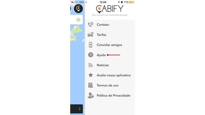 Acessar o canal de atendimento do Cabify