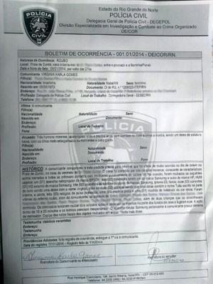 Delegada registrou Boletim de Ocorrência foi registrado na Divisão Especializada de Investigações e Combate ao Crime Organizado do RN (Foto: Reprodução/Inter TV Cabugi)