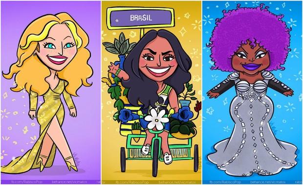 Gisele Bündchen, Lea T e Elza Soares em ilustração de Vic Matos (Foto: Reprodução/vicmatos)