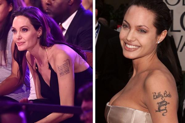 Angelina Jolie (hoje em dia e antigamente) (Foto: Getty Images)