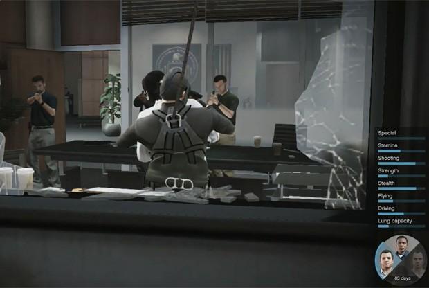Durante o jogo, é possível trocar entre os três personagens no meio da missão, para montar estratégias de jogo (Foto: Reprodução/YouTube/Rockstar Games)