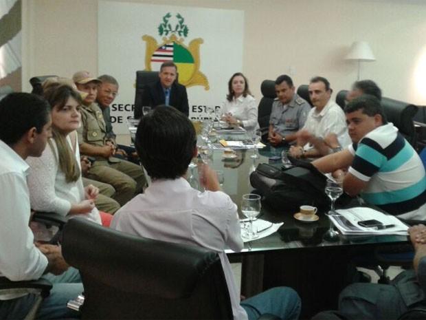 Cúpula da Segurança do Estado reunida na Secretaria de Segunraç Pública (Foto: Divulgação/Ascom)