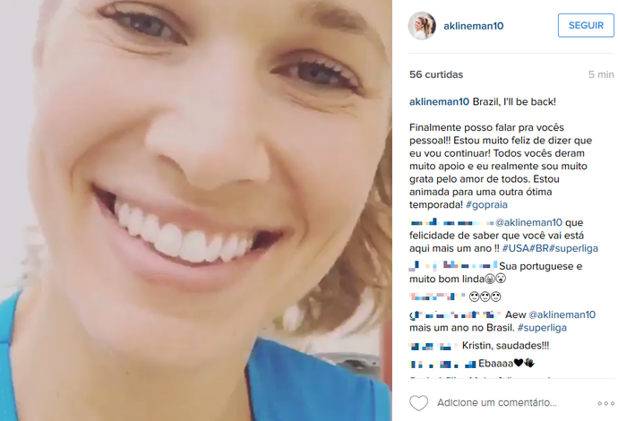 Alix Klineman norte-americana ponteira vôlei Praia Clube Uberlândia (Foto: Reprodução/Instagram)