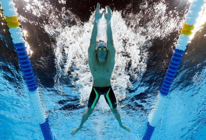 Michael Phelps nos 200m medley da seletiva olímpica de natação dos Estados Unidos em Omaha (Foto:  Al Bello/Getty Images)
