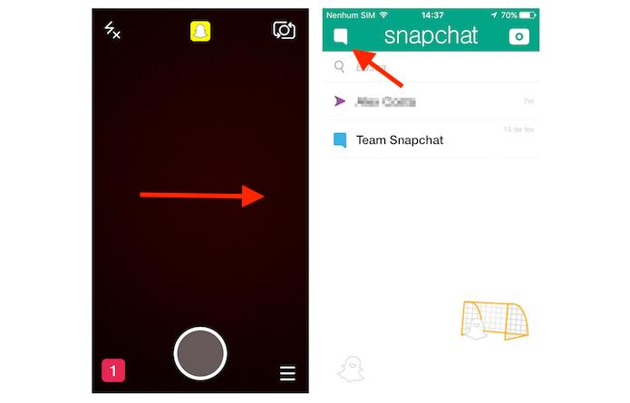 Acessando a tela para iniciar um bate papo no Snapchat (Foto: Reprodução/Marvin Costa)