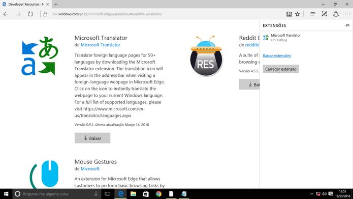 Microsoft Edge mostrará extensão instalada junto com as demais no painel (Foto: Reprodução/Elson de Souza)