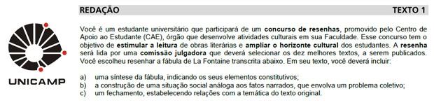 Trecho da prova de redação da Unicamp (Foto: Reprodução)