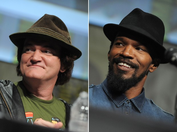 Cineasta Quentin Tarantino e ator Jamie Foxx no painel de 'Django livre' na Comic-con, em San Diego, neste s&#225;bado (14) (Foto: Jordan Strauss/Invision/AP)