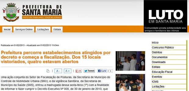 Site da Prefeitura de Santa Maria informa início de fiscalização de documentação em boates (Foto: Reprodução)