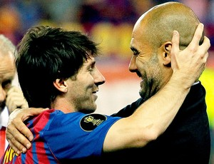 Guardiola e Messi na comemoração do Barcelona da Copa do Rei (Foto: AP)