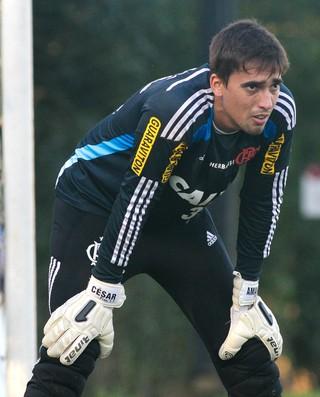 César, goleiro do Flamengo, no treino (Foto: Gilvan de Souza / Flamengo)