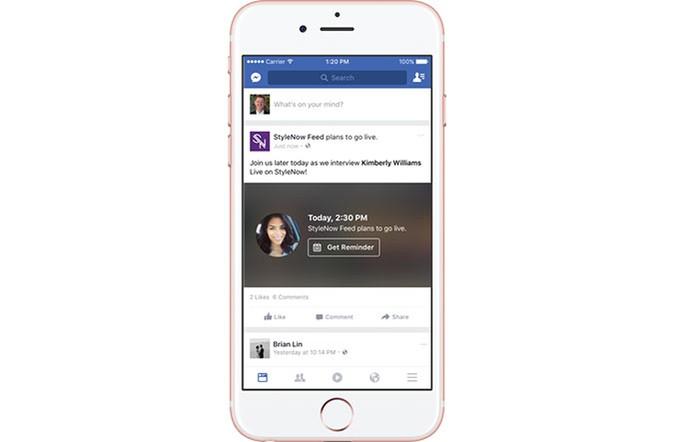 Facebook mostra no Feed dos usuários o post com agendamento da Live (Foto: Divulgação/Facebook)