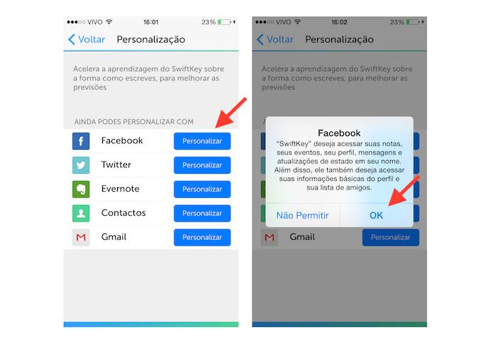 Vinculando o Facebook ao teclado SwiftKey do iOS (Foto: Reprodução/Marvin Costa)
