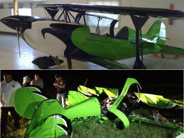 Foto mostra avião horas antes do acidente no Aeroclube do Paraná  (Foto: Daniel Ferrari e  Marco Aurélio Garcia / RPC TV)