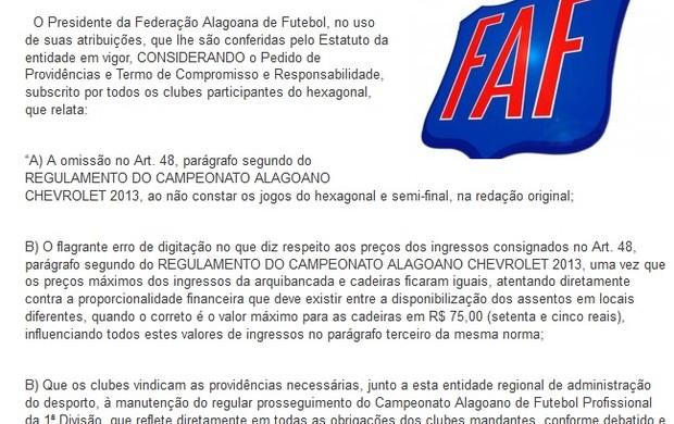 Resolução da FAF em 12/03/2013 (Foto: Reprodução/FAF)