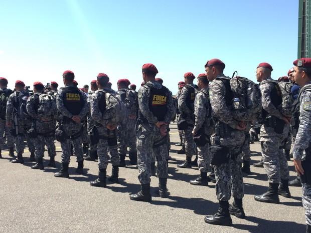 Força Nacional em Roraima (Foto: Inaê Brandão/G1)