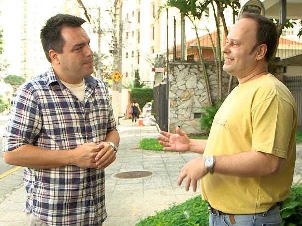 Renato Cunha  conversa com Tony Nyenhuis do projeto Calçadas SP (Foto: Globo)