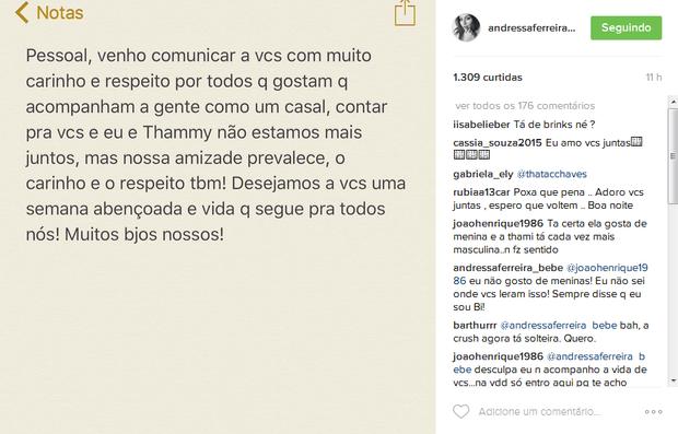 Post de Andressa Ferreira (Foto: Reprodução/Instagram)