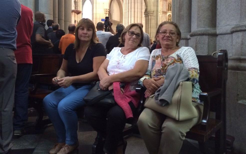 Nadia Maria Gouveia, Maria Lucia e Antonia Cronenberg foram à Sé (Foto: Tahiane Stochero/G1)