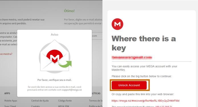 Acesse a conta de e-mail e clique no botão para desbloquear a conta do Mega (Foto: Reprodução/Barbara Mannara)