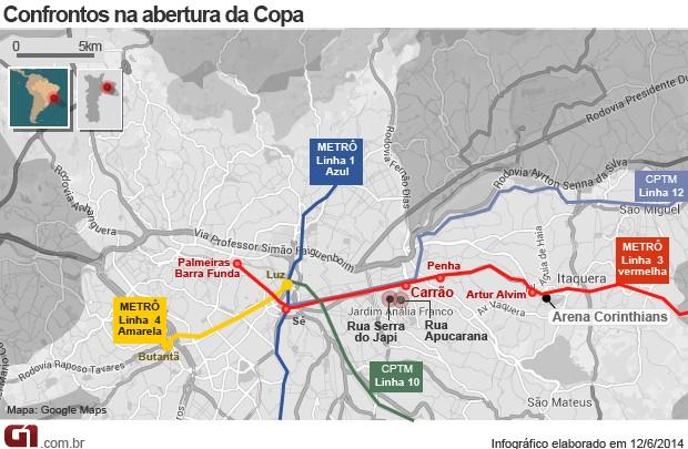 Mapa confrontos na Radial Leste (Foto: Editoria de Arte/G1)
