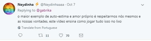 Internauta critica Deborah (Foto: Reprodução Twitter)