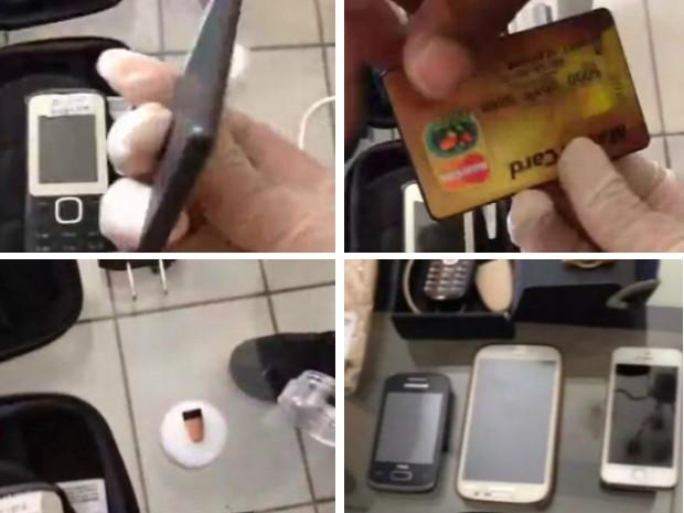Criminosos usavam cartão de crédito falso para esconder celular; pontos eletrônicos e celulares também foram apreendidos durante operação (Foto: Divulgação/Ascom PF)