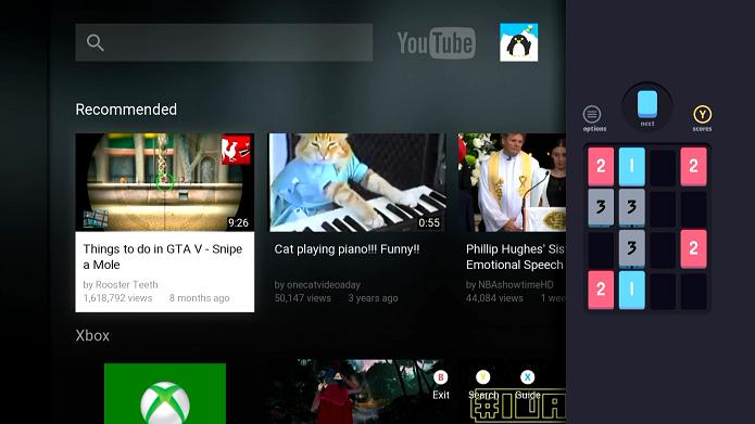 Integrado aos recursos do Xbox One, Threes! pode ser jogado ao mesmo tempo em que se assiste TV (Foto: Divulgação)