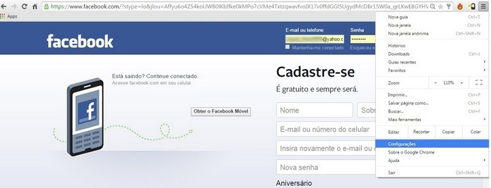 Caminho para abrir as configurações do Google Chrome (Foto: Reprodução/Raquel Freire)