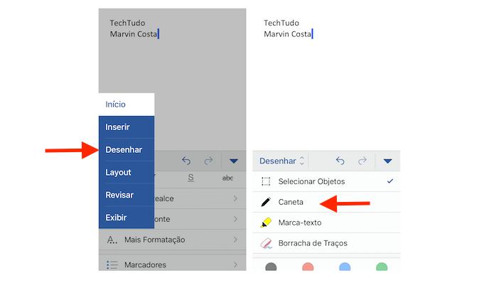 Ativando a função caneta para desenha em documentos do Word para iPhone (Foto: Reprodução/Marvin Costa)