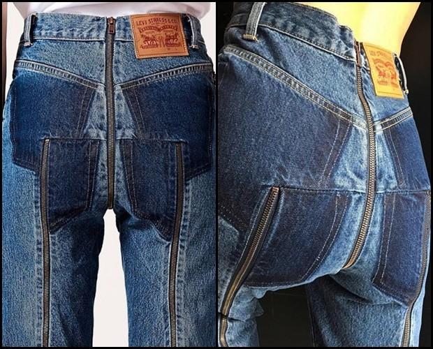 A calça com zíper traseiro da Vetements e da Levi's (Foto: Divulgação)