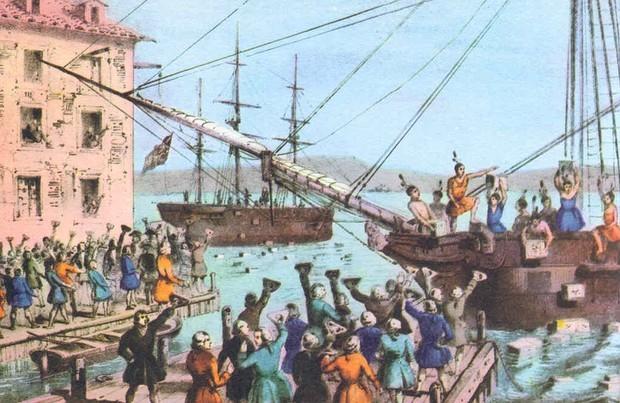 Boston Tea Party, um protesto da colônia (Foto: Reprodução)