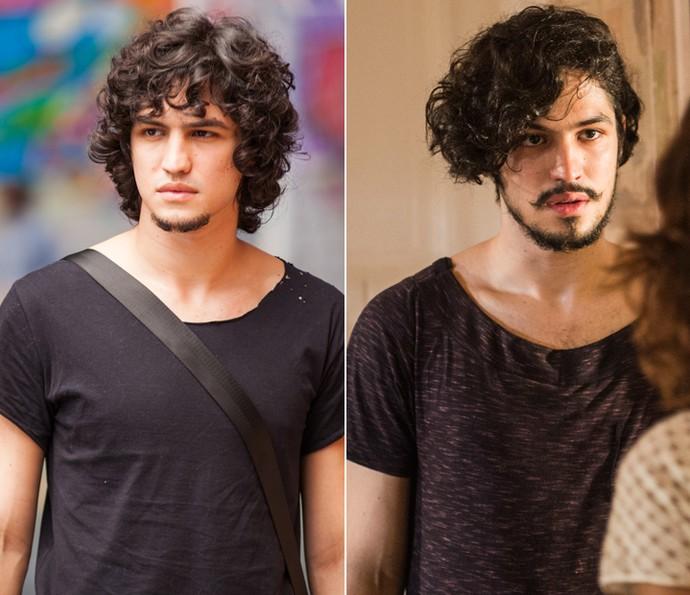 Gabriel Leone na pele de Guilherme, em Verdades Secretas, e Miguel, em Velho Chico (Foto: Fabiano Battaglin/ Gshow/ Caiuá Franco/ Globo)