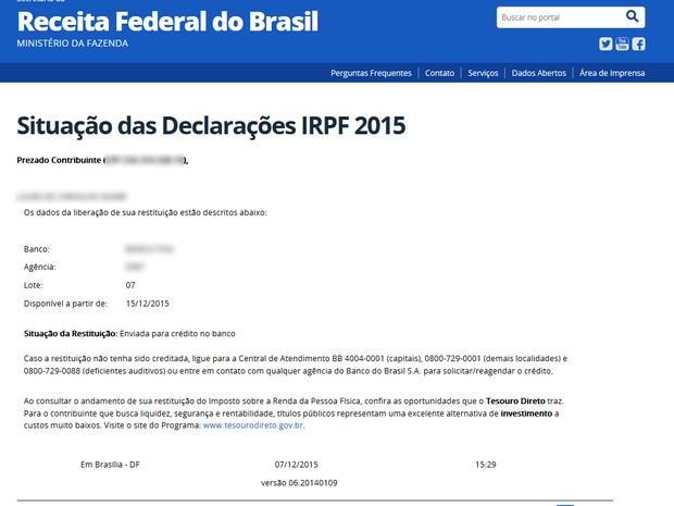 Receita libera consultas ao lote 7 do Imposto de Renda 2015 (Foto: G1)