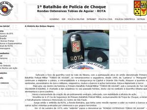 Site da Rota cita Marighella e Lamarca  (Foto: Reprodução/ G1)