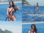Pérola Faria mostra gominhos no abdômen durante stand up paddle