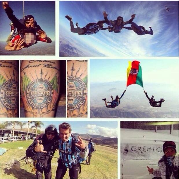 Montagem de fotos no Instagram de Andrei mostra paixão do paraquedista pelo Grêmio (Foto: Arquivo Pessoal)