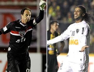 montagem Rogerio Ceni Ronaldinho Gaúcho São Paulo Atlético-MG (Foto: Editoria de Arte)