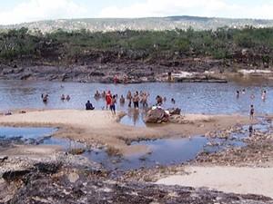 Praia do Vau também teve pouco movimento (Foto: Reprodução / Inter TV)