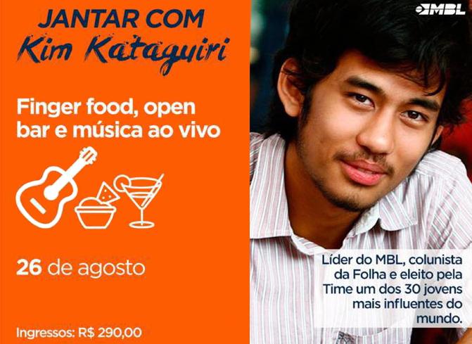 Jantar com Kim Kataguiri em Florianópolis custa R$ 290