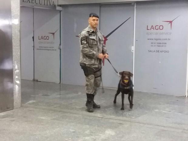 Batalhão de Ações com Cães fez treinamento nesta quarta-feira (25) no Galeão (Foto: Janaína Carvalho/G1)