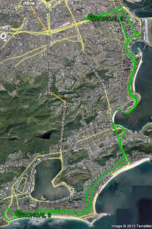 Linha troncal 3  (Foto: Reprodução / Prefeitura do Rio / Google Maps)