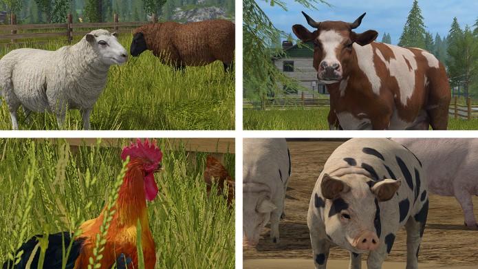 Os animais são mais detalhados que o cenário em Farming Simulator 17 (Foto: Divulgação/Giants Software)